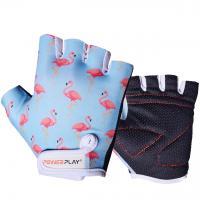 Велоперчатки детские 001 фламинго голубые