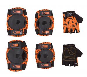 Защита для детей Green Cycle Dino Orange наколенники, налокотники, перчатки, оранжевые