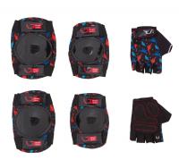 Захист для дітей Green Cycle Dino Black наколінники, налокітники, рукавички, чорні