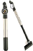 Мінінасос Green Cycle GPM-277 зі складною Т-ручкою, з монометром під два типи клапана AV + FV, сріблястий